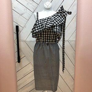 Calvin Klein Black & White Gingham Print Dress